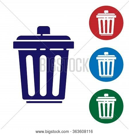 Blue Trash Can Icon Isolated On White Background. Garbage Bin Sign. Recycle Basket Icon. Office Tras