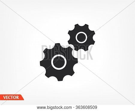 Gear Icon. Gear Half. Vector Graphics Display Work Style. Clipped Gear Vector Graphics. For Your Sit