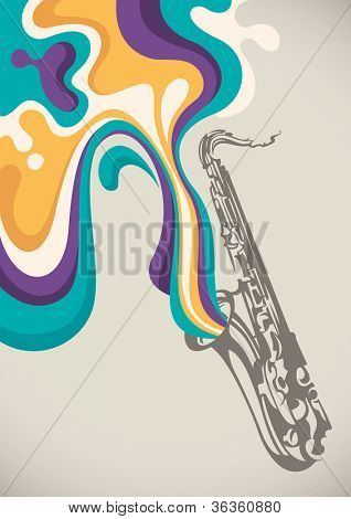 Saxophone with liquid abstraction. Vector illustration. poster
