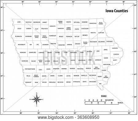 Iowa State Outline Administrative And Political Vector Map In Black And White