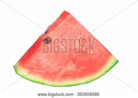 Close Up Sliced Ripe Watermelon On White Background