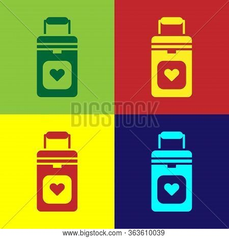 Pop Art Cooler Box For Human Organs Transportation Icon Isolated On Color Background. Organ Transpla