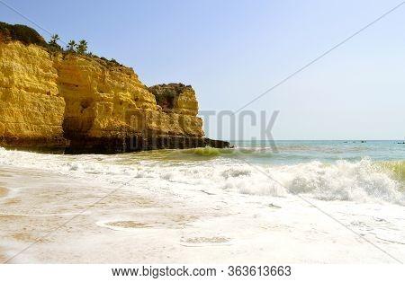 Senhora Da Rocha Beach On The Algarve Coast In Portugal