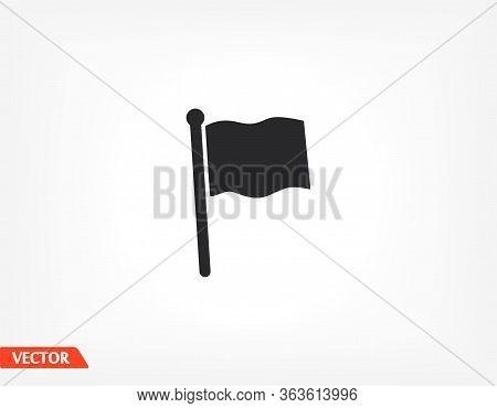 Outline Flag Icon, Isolated On Attachment, Flag Logo, User Interface. Editable Barcode Flag. Vector