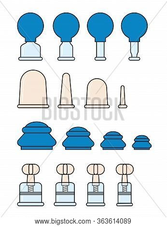 Vacuum Silicone, Glass Cans With Rubber Bulb And With A Screw. Massage Jars For Face And Body. Medic