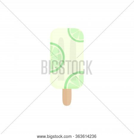 Lime Popsicle Vector Illustration. Ice Lolly With Lime Citrus Flavor Fruit On Stick. Summer Sweet Fr