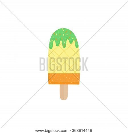 Pineapple Popsicle Vector Illustration. Ice Lolly With Fruit Flavor On Stick. Summer Sweet Frozen De