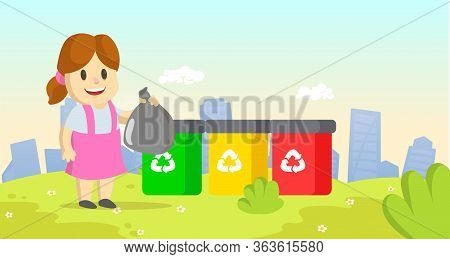 Cute Little Girl Holding Garbage Plastic Bag Standing Near Containers With Different Types Of Recycl
