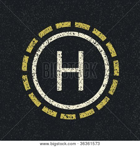 Helicopter landing pad, vector, EPS8