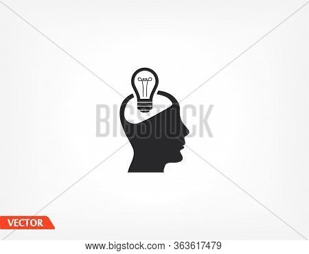 Head And Sweetheart Icon, Head Light. User Silhouette Symbol For Your Website Design Head, Logo, App