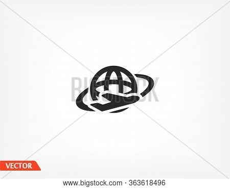 Globe And Travel By Plane. Aircraft Flies Around The Earth. Globe And Tourism. Vector Graphics Of Th