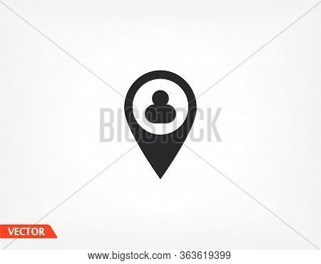 People Location Icon. The Location Of The Person. Label On The Map. Human Search. Vector Eps 10.