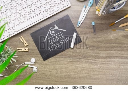 At Home Learning Flat Lay Background Concept. Distance Learning  E-learning. Home Schooling Learning