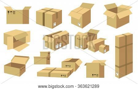 Cardboard Boxes Flat Icon Collection. Shipping Carton Packages, Open Paper Boxes, And Post Cargo Par
