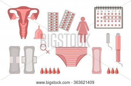 Menstruation Flat Icon Collection. Female Menstrual Calendar, Pads, Uterus And Tampons Vector Illust