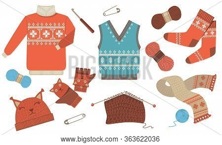 Knitted Winter And Autumn Seasonal Clothes Flat Icon Kit. Woolen Sweater, Scarf, Hat And Socks Isola