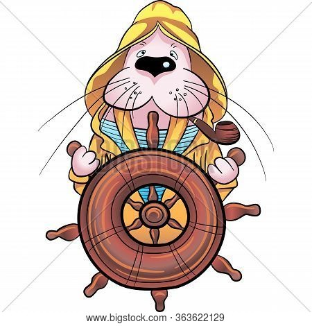 Cute Walrus Captain In Sailor Suit At The Helm Of The Ship, Cartoon Hand Drawn Vector Illustration