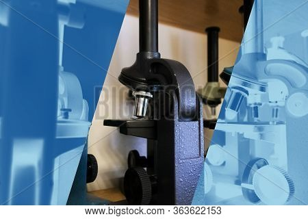 Close Up Blue And Black Microscopes Stand On Cabinet Shelf. Laboratory Equipment Kit. Science And Bi