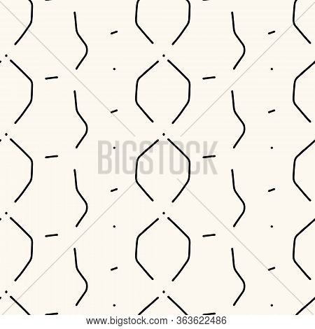 Vector Seamless Abstract Pattern, Modern Illustration With Irregular Distorted Lines. Repeatable Geo