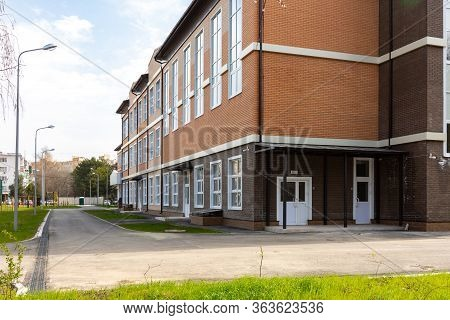 Anapa, Russia - March 27, 2020: The Adjacent Area Of The New Building Of The Secondary School 6 In A