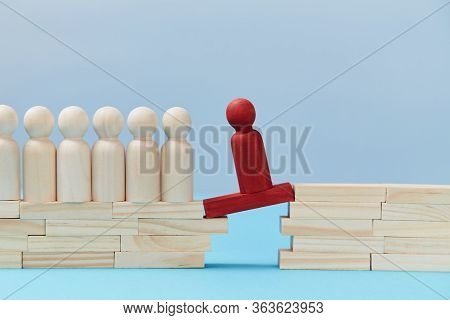 Believe In Yourself Mockup. Challenge. Human Ambition. Self Confidence Concept. Wooden Figure Going
