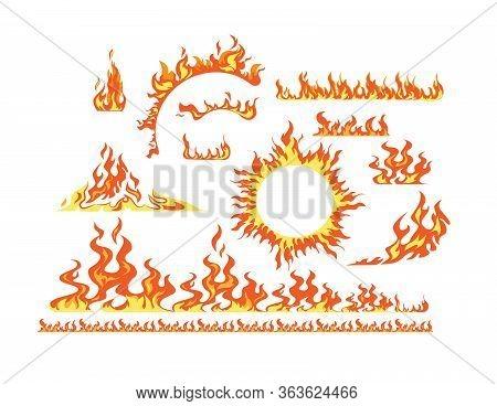 Flame Elements Flat Icon Kit. Cartoon Symbol Of Fire And Ignition Vector Illustration Set. Horizonta