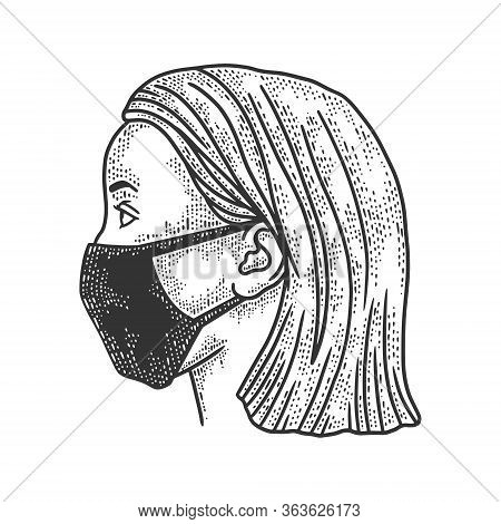 Young Woman In Medical Surgical Mask Sketch Engraving Vector Illustration. T-shirt Apparel Print Des