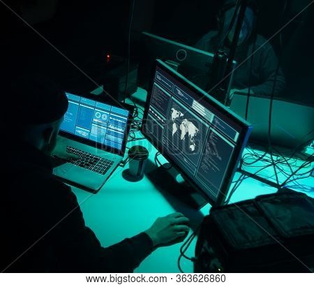 Internet Fraud, Darknet, Data Thiefs, Cybercrime Concept. Hacker Attack On Government Server. Danger