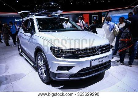 Geneva, Switzerland - March 10, 2019: White Crossover Volkswagen Tiguan Presented At The Annual Gene