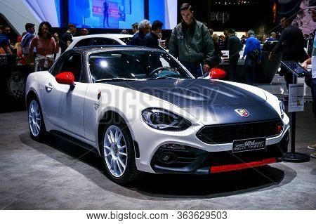 Geneva, Switzerland - March 10, 2019: Sports Roadster Fiat Abarth 124 Spider Presented At The Annual