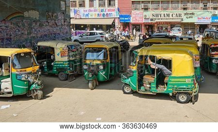Agra, Uttar Pradesh / India - October 5, 2019: Tuk Tuks In The Streets Of Agra, India