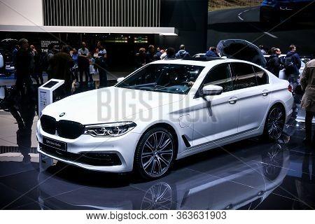 Geneva, Switzerland - March 11, 2019: Luxury Saloon Car Bmw 5-series (g30) Presented At The Annual G
