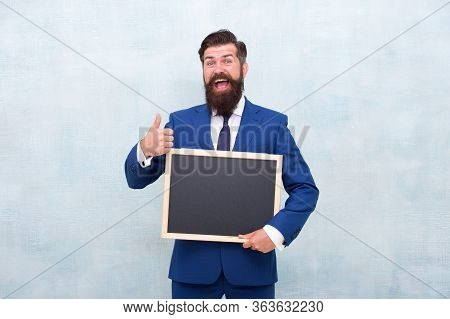 Work Enthusiastically. Business Coach Hold Blackboard. Business Presentation. Business Academy. Star