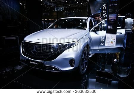 Geneva, Switzerland - March 11, 2019: All-electric Compact Luxury Crossover Mercedes-benz Eqc400 (n2
