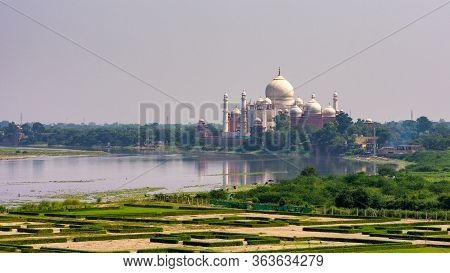 Distant View Of The Taj Mahal Mausoleum Built In 1643 By Mughal Emperor Shah Jahan To House The Tomb