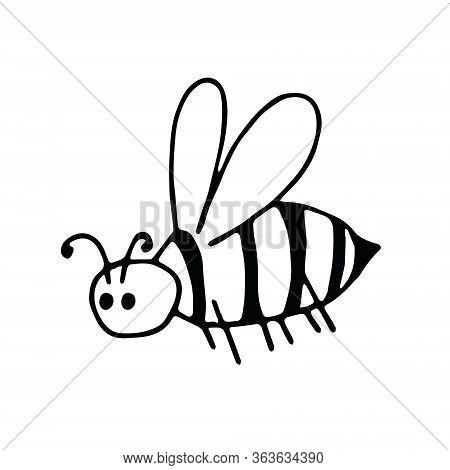 Bee Hand Drawn In Doodle Style. Element Scandinavian Monochrome Minimalism Simple Vector Element. In