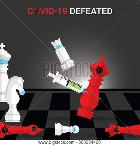 White Rook Wear Mask Checkmate By Vaccine The Red King Covid-19. Concept Of Victory Over The Covid-1