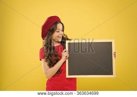 Child Promo Information Board. Place For Information. Girl Hold Blank Blackboard Chalkboard. Adverti