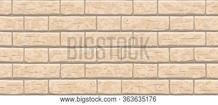 Brick Wall Seamless Pattern Background. Horizontal Seamless Brown Brick Texture Background. Beige, L