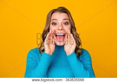 Closeup Photo Of Attractive Funny Curly Lady Arms Near Mouth Chatterbox Person Yelling Novelty Infor
