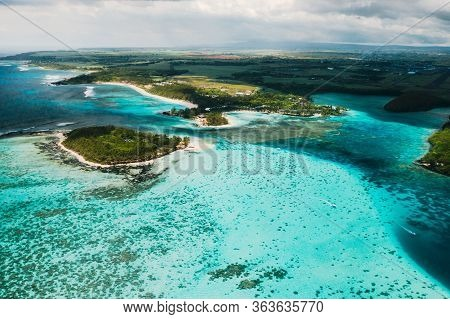 Aerial Photography Of The East Coast Of The Island Of Mauritius. Beautiful Lagoon Of The Island Of M