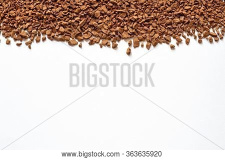 Instant Coffee Isolated On White Background, Granulated Coffee Texture, Instant Granulated Coffee Cl