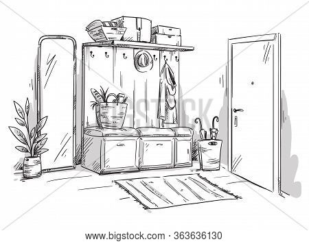 Entrance Hall Of An Apartment, Interior Design Vector Sketch