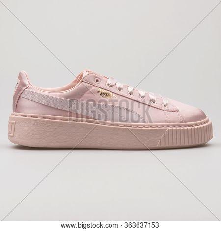 Vienna, Austria - February 19, 2018: Puma Basket Platform Tween Pink Sneaker On White Background.