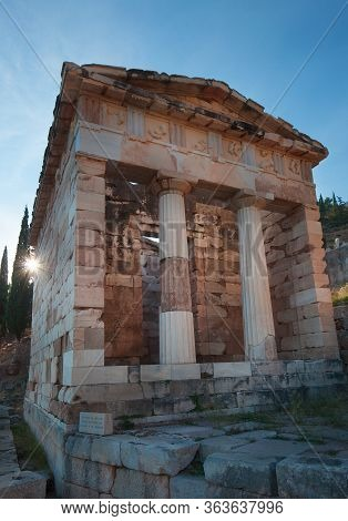 Various Archeological Sites Found In Delphi Greece