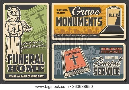 Funeral And Burial Agency Service, Vector Vintage Posters For Farewell Ceremonies And Funerals. Crav
