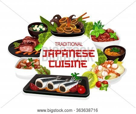 Japanese Cuisine Traditional Food Dishes, Japan Restaurant Menu. Japanese Authentic Meals Meat Entre