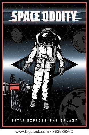 Astronaut In Outer Space, Vector Retro Poster With Glitch Effect. Galaxy Universe Exploration, Astro