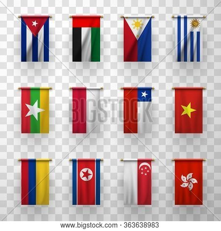 Realistic Flags Vector 3d Icons Burma, Colombia And Chile, Uruguay, Cuba, Uae. Poland, Philippines A