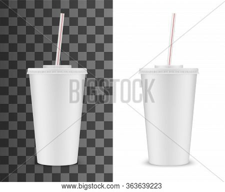 Soda Drink Plastic Cup With Striped Drinking Straw, Vector Realistic 3d White Disposable Package Moc